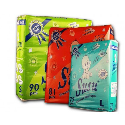 Susu Diapers Mega Pack Large (72Pcs)