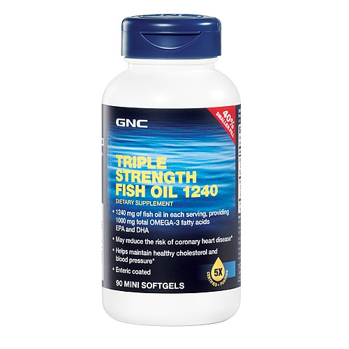 Triple strength fish oil 1240 90 mini softgels gnc in for Triple strength fish oil