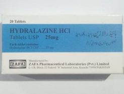 Hydralazine HCL 25MG 20 TABLETS